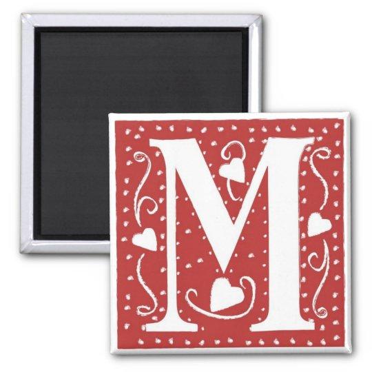 Wedding Hearts Letter M Magnet