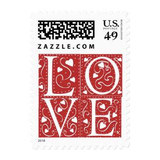 Wedding Hearts LOVE RSVP Invitation Save The Date Postage Stamp