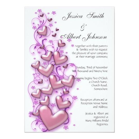 Wedding hearts swirls invitation