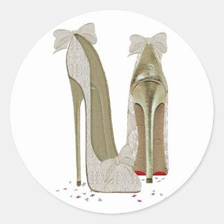 Wedding High Heels Art Classic Round Sticker