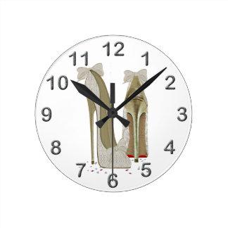 Wedding High Heels Art Round Clock