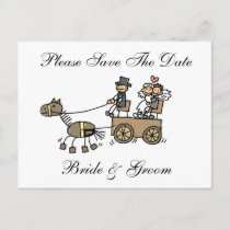 Wedding Horse And Carriage Save The Date Announcement Postcard