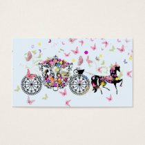 Wedding Horse & Carriage Flowers & Butterflies 2 Business Card