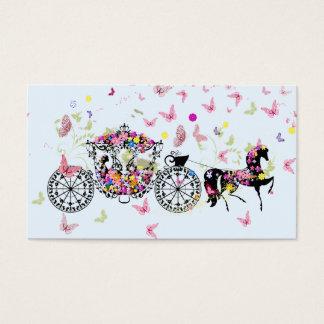 Wedding Horse & Carriage Flowers & Butterflies 2 Business Card