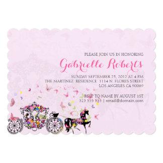 Wedding Horse & Carriage Flowers & Butterflies 2 Card