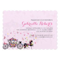Wedding Horse & Carriage Flowers & Butterflies 2 Invitation