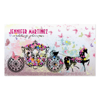 Wedding Horse & Carriage Flowers & Butterflies Double-Sided Standard Business Cards (Pack Of 100)