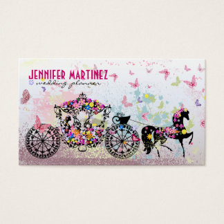 Wedding Horse & Carriage Flowers & Butterflies Business Card
