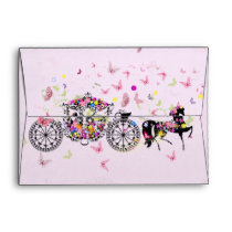 Wedding Horse & Carriage Flowers & Butterflies Envelope