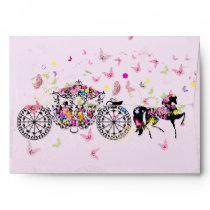 Wedding Horse & Carriage Flowers & Butterflies Envelope