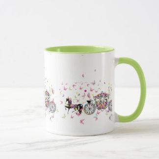 Wedding Horse & Carriage Flowers & Butterflies Mug