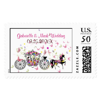 Wedding Horse & Carriage Flowers & Butterflies Postage
