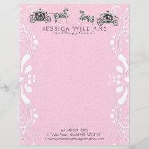 Wedding Horse & Carriage Pink Damasks Letterhead