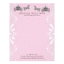 Wedding Horse & Carriage Pink Damasks Letterhead