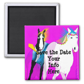 Wedding Horses 2 Inch Square Magnet