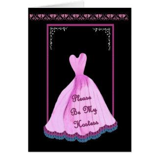 Wedding Hostess Invitation PINK Gown Flowered Trim Greeting Card