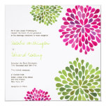 Wedding Hot Pink & Green Flower Blooms Invitation