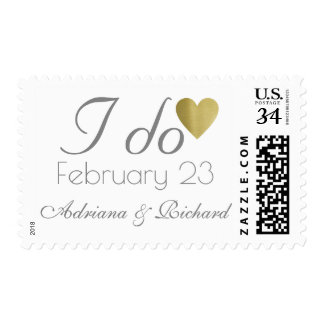 wedding 'I do' elegant and clear romantic Postage