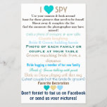 """Wedding I Spy<br><div class=""""desc"""">Have your guests collect candid photos of your wedding day by ordering this fun wedding I spy game. Fun for everyone,  encourage everyone to participate,  even get some disposable cameras and have teams try to get a picture of everything on the list!</div>"""