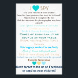 """Wedding I Spy Flyer<br><div class=""""desc"""">Have your guests collect candid photos of your wedding day by ordering this fun wedding I spy game. Fun for everyone,  encourage everyone to participate,  even get some disposable cameras and have teams try to get a picture of everything on the list!</div>"""