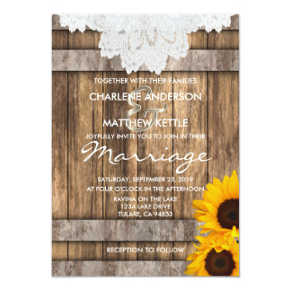 Wedding in a Rustic Wood and Lace Card