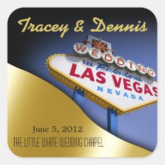 Wedding in Fabulous Las Vegas Metallic Gold Square Stickers
