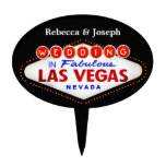 Wedding in Fabulous Las Vegas Neon Sign Poker Cake Topper