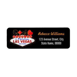 Wedding in Fabulous Las Vegas Neon Sign Poker Label