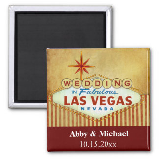 Wedding in Fabulous Las Vegas - Vintage Stripes Magnet