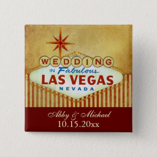 Wedding in Fabulous Las Vegas - Vintage Stripes Pinback Button