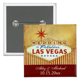 Wedding in Fabulous Las Vegas - Vintage Stripes Pinback Button