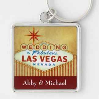 Wedding in Fabulous Las Vegas - Vintage Stripes Silver-Colored Square Keychain