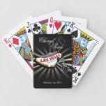 Wedding in Las Vegas black & silver Las Vegas sign Bicycle Playing Cards