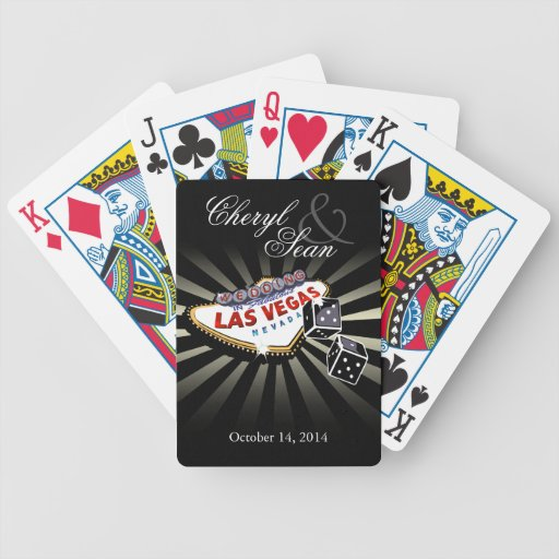 Wedding in Las Vegas black & silver Las Vegas sign Deck Of Cards
