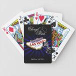 Wedding in Las Vegas blue & black Las Vegas sign Bicycle Playing Cards
