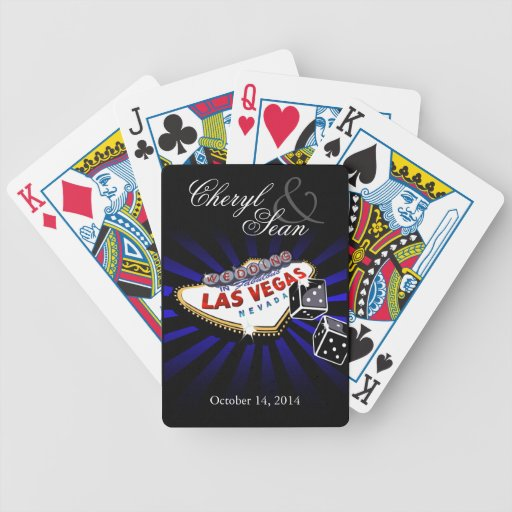 Wedding in Las Vegas blue & black Las Vegas sign Bicycle Playing Cards