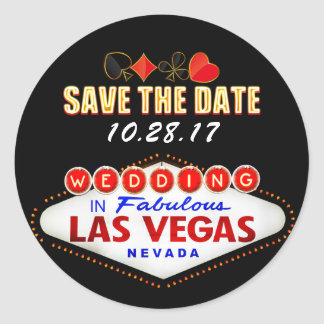 Wedding in Las Vegas Sign Neon Light Save the Date Classic Round Sticker