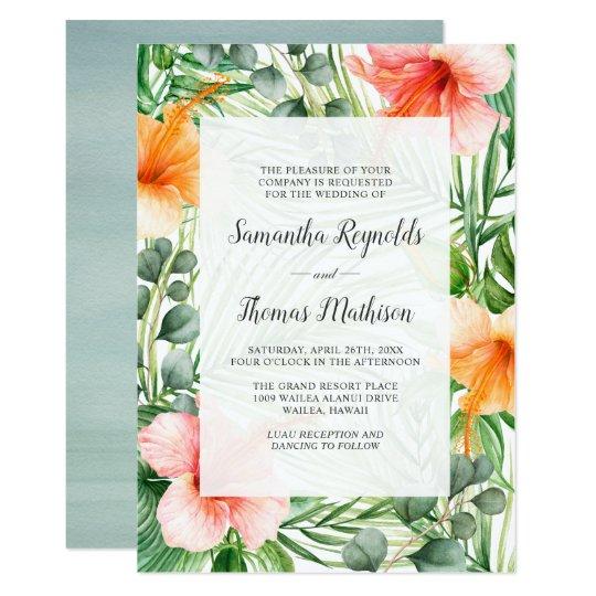 Wedding In Paradise Tropical Hibiscus Floral Invitation