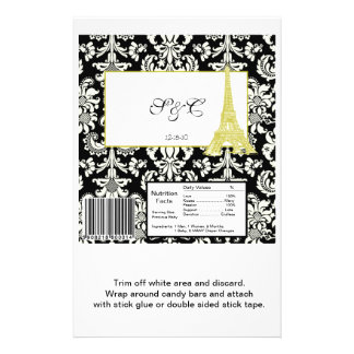 Wedding in Paris Black Damask Large Candy Wrapper