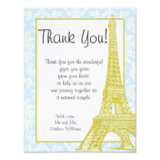 Wedding in Paris Blue Damask Flat Thank You Card