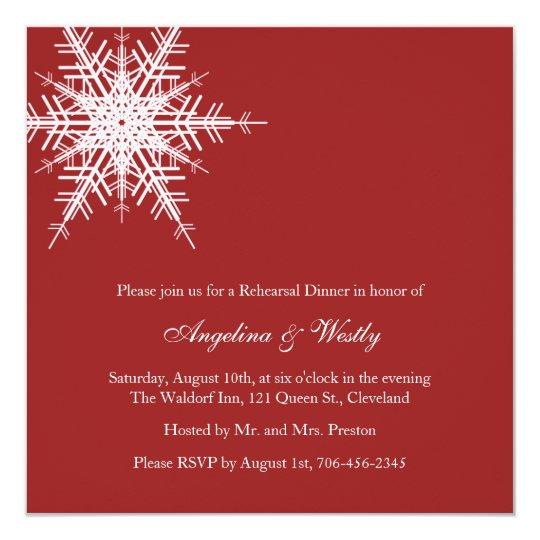 Wedding in Winter Rehearsal Dinner Invitation