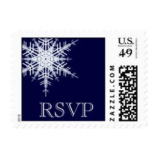 Wedding in Winter RSVP Stamp blue