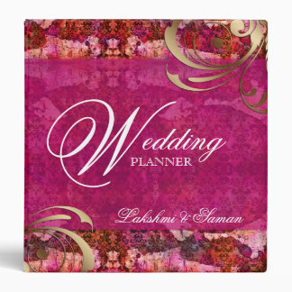 Wedding Indian Damask Pink Gold Photo Album 3 Ring Binder