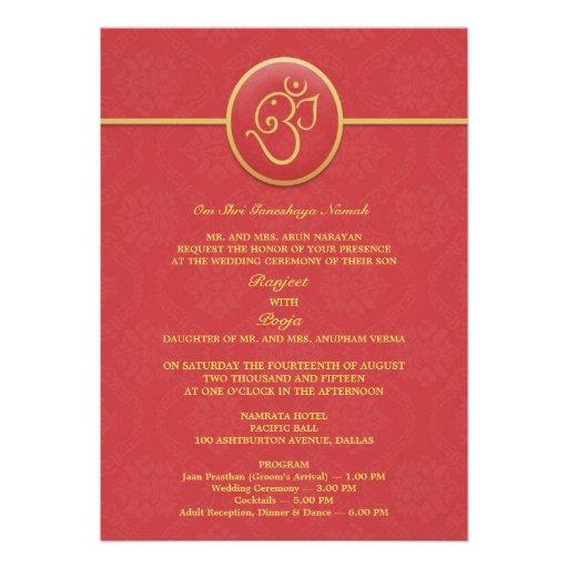 Wedding Indian Style Flat Invitation 5 X 7 Invitation Card