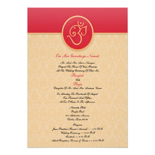 Wedding indian style flat invitation 5quot x 7quot invitation for Wedding invitation wording south indian style