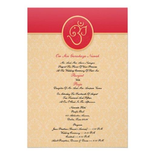 Personalized hindu ceremony invitations custominvitations4u wedding indian style flat invitation stopboris Gallery