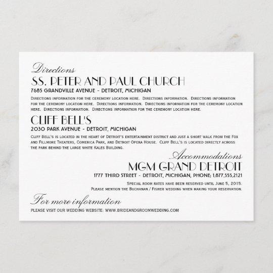 Wedding Information Card Art Deco Elegant Style