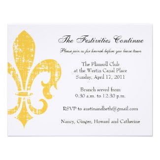Wedding Information Card | New Orleans | Gold