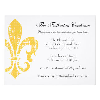 "Wedding Information Card | New Orleans | Gold 4.25"" X 5.5"" Invitation Card"