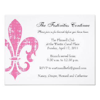 "Wedding Information Card | New Orleans | Pink 4.25"" X 5.5"" Invitation Card"